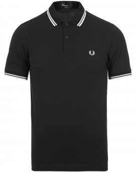 FRED PERRY BLACK/WHITE POLO TWIN TIP